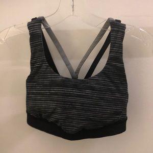 Lululemon black & gray bra top w/ mesh detail sz 4